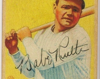 1933 goudey gum babe ruth #53 with autograph