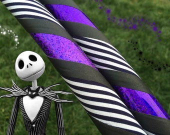 Nightmare Before Christmas Dance & Exercise Hula Hoop COLLAPSIBLE or Push Button purple black white stripe