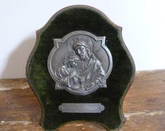 Antique Jesus Christ and Child Communion Icon Plaque. C.1930