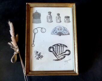 Antique ink Drawing in a frame .Boudoir. Wall Decor .1900s Home Decor .Original Vintage Drawing .Antique Frame Vintage