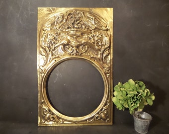 French Antique Brass Victorian Grandfather Clock Face frame .Morbier Comtoise Clock Frame Antique frame