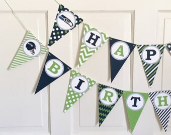 SEATTLE SEAHAWKS FOOTBALL Themed Happy Birthday or Baby Shower Party Banner Navy Green - Party Packs Available