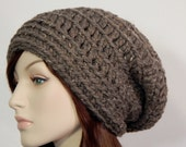 Barley Brown Wool Blend Slouch Hat, Brown Slouchy, Womens Hat, Ladies Hat, Boho Slouch Hat, Winter Hat, Baggy Slouch, MarlowsGiftCottage