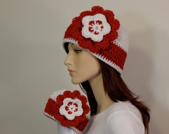 Matching Mom/Toddler/Child Hats, Red White Flower Hat, Photo Prop, Mama and Me, Christmas Hats
