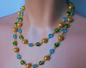 Joan Rivers necklace, blue and green necklace, faceted crystal beads, decorative caps, gold filigree beads, single strand doubled for photo