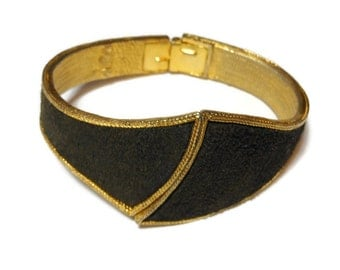 BSK cuff bracelet - Unique signed BSK black suede hinged cuff gold plate very rare.