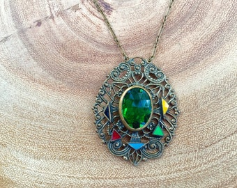 Art Deco Necklace Czech Glass Enamel Brass Filigree Emerald Green Vintage Jewelry 1920s Gift for Her