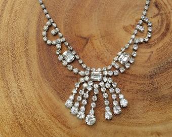 Vintage Bridal Necklace Rhinestone Statement Necklace 1950s Bridal Jewelry Waterfall Bib Choker Necklace