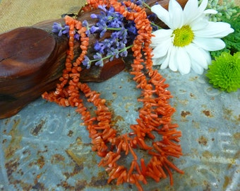 VINTAGE CORAL Natural Branch Double Strand Choker Necklace