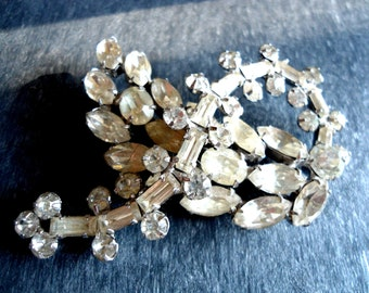 Vintage Kramer Rhinestone Brooch Marquis, Baguettes and Rounds Leaf and Stem Design Weddings Special Occasions Hair Clips
