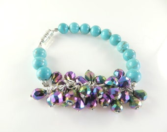 "Turquoise and purple mini cha cha bracelet  (7 1/2"")"