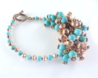 "Clearance-Copper and turquoise mini cha cha bracelet   (7 1/2 "")"