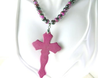 Fushsia cross beaded necklace