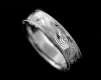 Hand Engraved Men's Wedding Ring, Hand Carved Scroll Swirl Wedding Band, Comfort Fit Men's Ring, Art Deco Style 6mm Flat Gold Wedding Ring