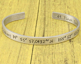 Latitude and Longitude cuff bracelet -Custom GPS Coordinates - personalized pure aluminum jewelry by iiwii emporium