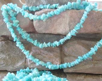 """Natural Amazonite Medium Chip Beads Blue Gemstone 36 """" Strand"""