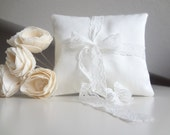 Bridal pillow, ring beare cushion, White wedding pillow with lace bow decoration country wedding