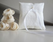 Bridal pillow, ring bearer cushion, wedding ring pillow, white ring bearer pillow with lace decoration