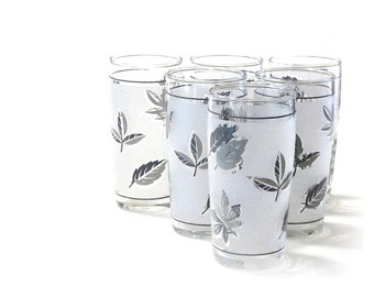 Libbey Frosted Silver Leaf Juice Glasses Set of Six Breakfast Mad Men Shots Shooters Drinkware