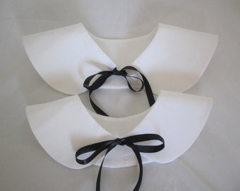 Halloween costume collars white cotton small or large with or without ties RTS