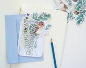 Birthday Card - Mini Owl on a Mason Jar - Woodland