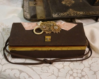 Jewelry box repurposed from vintage hand bag embellished and upscaled with vintage jewelry, one of a kind
