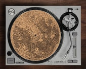 Turntable Slipmat - Vintage Moon  engraved Cork turntable mat with Reversable fabric Back