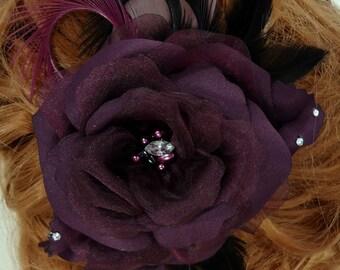 Aubergine Eggplant Rose, Rose Bridal Clip, Bridal Hair Accessory