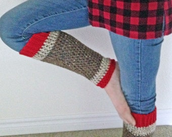 Teen - Adult Leg Warmers - Sock Monkey Inspired - Red, Oatmeal, Brown Tweed  - Handcrafted - Accessory