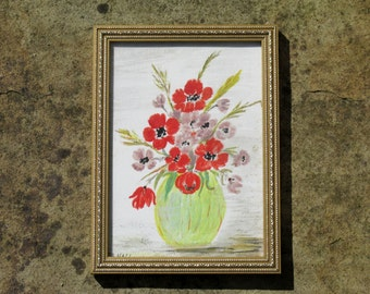 1980s Still Life Painting of a Vase of Flowers Poppies Signed J A Hall Gold Frame Original Art Wall Hanging Home Decor