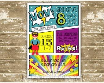 Superhero Birthday Party Invitation - Girl Superhero - Comic Book Birthday Party Invitation