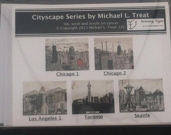 Cityscape Card Set: Set of 5 Note Cards Featuring Chicago, LA, Seattle and Toronto