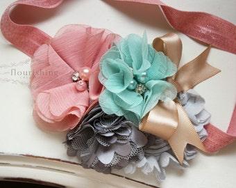 Blush, Grey and Dusty Green  headband, blush headbands, newborn headbands, grey headbands, vintage headbands, photography prop