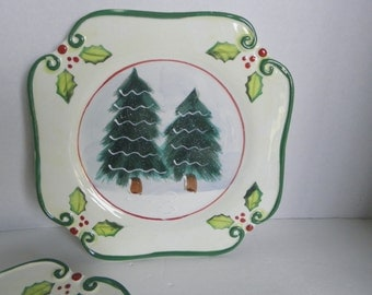 Set of 4 Winter Woods & Holly Holiday Dessert Salad Plates Ambiance Collections