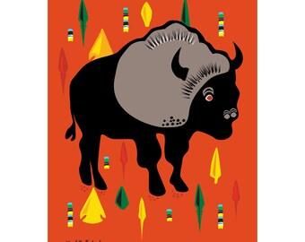 Buffalo and Arrow Head Art Print 11 x 14 drawing