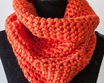 M Orange Chunky Crochet Cowl Neck Infinity Scarf