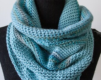 L Aqua Striped Crochet Cowl Neck Infinity Scarf