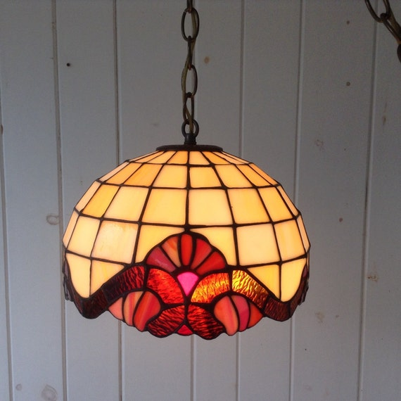 Small Vintage Tiffany Style Stained Glass Hanging Swag Light