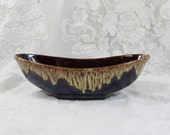 Vintage Glass Pottery Gravy Boat/ Bowl/ Dish- Imperial Glass, Chicago - Slag- Brown with Drip Markings- Iridescent glaze- Oval bowl-