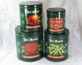 Vintage Canister Set- Del Monte Nesting Set of Four Tins w/ Lids- Dark Green with Vegetables/ Fruits- Country Kitchen Decor- Made in England