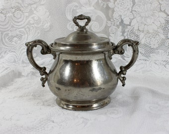 Antique Pewter/ Silver Plated Covered Sugar Bowl- Rochester Stamping Company- 'Argentine' pattern-