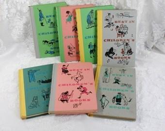 Children's Vintage Book Set- Set of Seven 'Best in Children's Books- 1950's - 1960's Antique- Colorful Bindings- children's room decor
