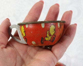 Set of Two Antique Tin Children's Toy Tea Cups- Ohio Art Company- Red with yellow ducks, blue interior- Rustic condition