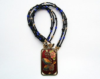 Natalya - Cloisonné and Crystal Beaded Necklace