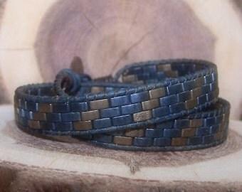 Leather 2 wrap bracelet -- Denim Dream