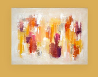 "Abstract Paintings - Modern Art, Acrylic, Original Abstract on Canvas by Ora Birenbaum 36x48x1.5"" Titled: Warmth of the Sun"