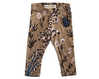 Thistle Leggings in Pale Pink, Blue and Black on Camel