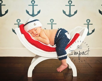 Newborn Sailor Hat and Pants - Navy Hat Photo Prop - Littlest Hero Collection