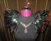 Red & Black Feather Collar Wings READY to SHIP Limited Edition Luxury Faerie Queen Couture