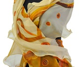 Beige Silk Scarf/Abstract Handpainted Scarf/Woman Painting Scarf/Woman Luxury accessory/Long shawl/Gift for Christmas/Chiffon scarfS0078